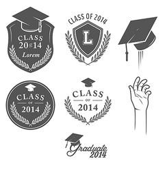 Set of vintage graduation labels badges and desig vector