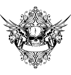 skull with wings 4 vector image vector image