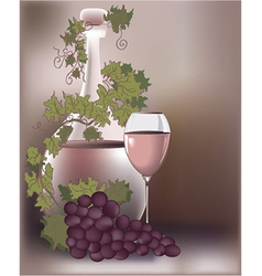 Wine and grapes vector image