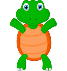 happy green turtle cartoon vector image vector image