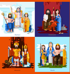 Olympic Gods 2x2 Cartoon Concept vector image
