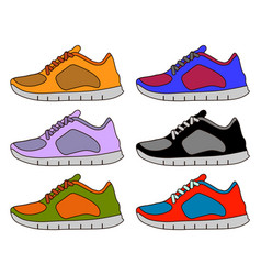 sneaker shoe minimal color flat line stroke icon vector image