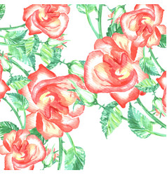 spring romantic red roses background and green vector image vector image
