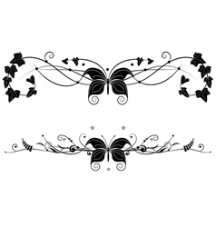 vignette set with butterfly vector image vector image