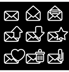 White Envelopes Icons vector image vector image