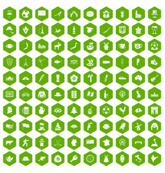 100 map icons hexagon green vector image