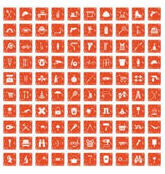100 tackle icons set grunge orange vector
