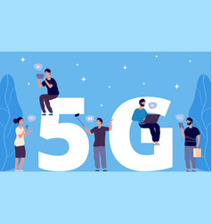 5g concept flat tiny people with phones and vector image