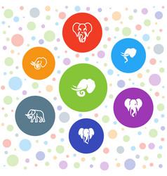 7 elephant icons vector
