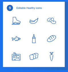 9 healthy icons vector image