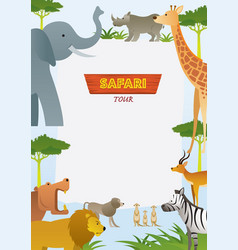 african safari animals frame vector image