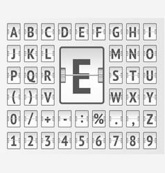 Airport white flip mechanical board bold alphabet vector
