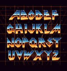 alphabet 80 s retro font vector image