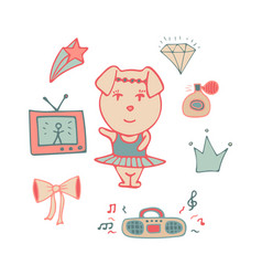 Amusing pink pig the dancer in a tutu vector
