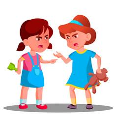 Argue child girls argue people concept vector
