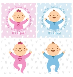 Baby girl and baby boy infants vector