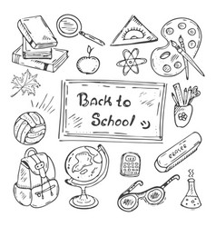 Back to school hand-drawn doodle set vector