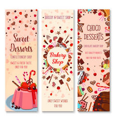 Bakery shop pies and pastry cakes banners vector