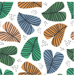 banana leaves flat seamless pattern vector image