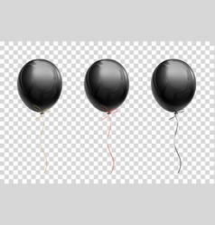 black flying balloon on a transparent background vector image