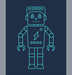 Blue line robot with claw hand vector