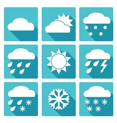 Blue square icons set of weather forecast vector image