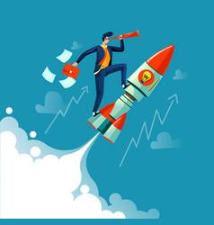 Businessman flying on rocket business concept vector