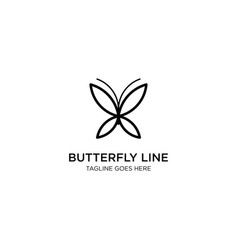Butterfly line or outline or monoline logo vector