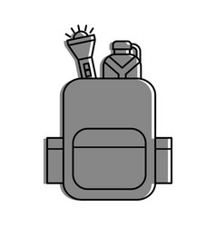 camping bag with canteen and lantern vector image