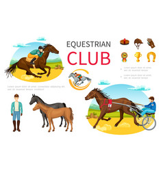 cartoon equestrian sport elements set vector image