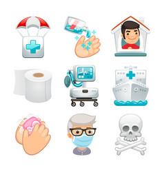 Cartoon medical icons epidemic set vector