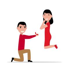 Cartoon proposal marriage vector