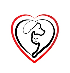 Cat and dog heart silhouette logo vector