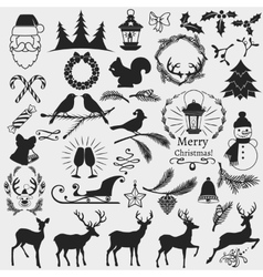 Chrismas slhouettes collection vector