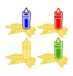 Christmas trimmings candle faience vector image