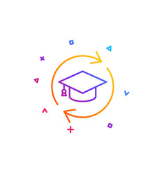 Continuing education line icon online education vector