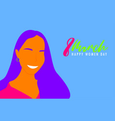 creative greeting card happy women day concepts vector image