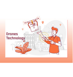 creative website template of drone delivery vector image