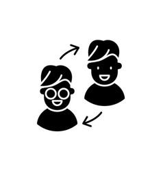 Customer transformation black icon sign on vector