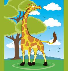 cute giraffe and tree vector image