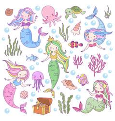 Cute mermaids adorable fairytale underwater vector