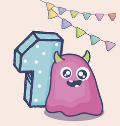 Cute monster with number one birthday card vector
