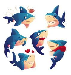 Cute shark cartoon character funny fish mascot vector