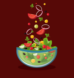 Delicious salad in bowl vector