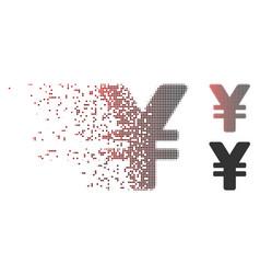 Disintegrating pixel halftone japanese yen icon vector