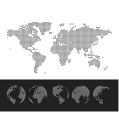 Dotted map and globe world vector