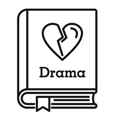 drama literary genre book icon outline style vector image