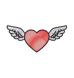 drawing romantic heart wings cute decoration vector image