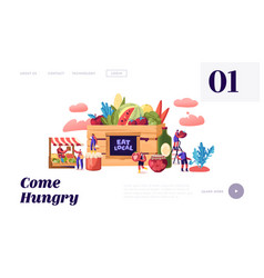 Eat local website landing page tiny male and vector
