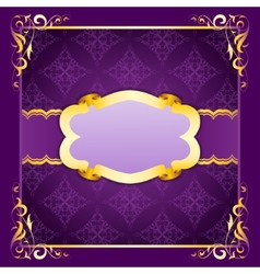 Elegant frame with ribbons on seamless ornament vector image